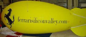 custom yellow color helium advertising blimp with Ferrari logo